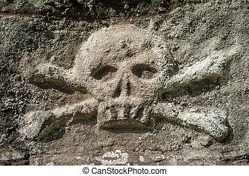 pietra, crossbones cranio