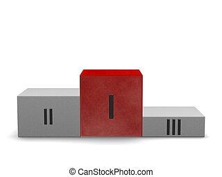 pietra, cubo, fumoso, sport, podio, ones, posto, vittoria, fronte, riflessivo, others., primo, rosso, vista