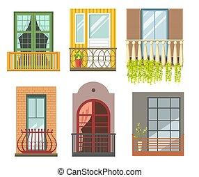 pietra, differente, ferro, balconi, stili, gettare, o,...