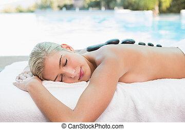 pietra, donna, fattoria, salute, ricevimento, massaggio