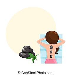 pietra, donna, prendere, giovane, caldo, terme, salone, massaggio