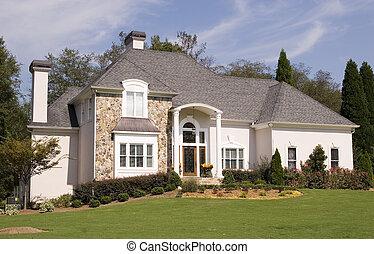 pietra, e, stucco, casa