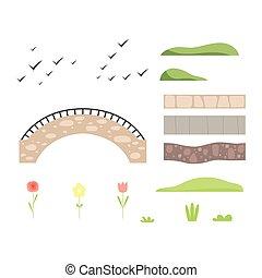 pietra, elementi, parco, illustrazione, paesaggio, vettore, disegno, ponte, architettonico, costruttore, piante, uccelli, percorso
