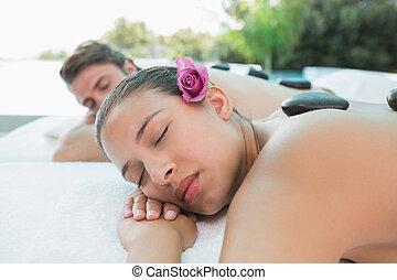 pietra, fattoria, coppia, salute, godere, massaggio