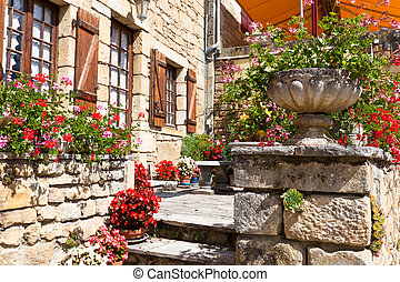 pietra, fiore, casa, otri, francia, luminoso, antico