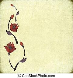 pietra, fiore, disegno, su, anticaglia, carta