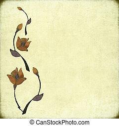 pietra, fiore, disegno, su, anticaglia, fondo