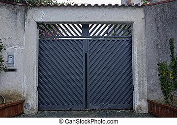 pietra, grigio, cancello, entrata, parete