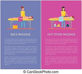 pietra, indietro, caldo, sessione, bandiera, cartone animato, massaggio