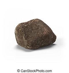 pietra, isolato, grande, interpretazione, fondo, roccia, bianco, 3d