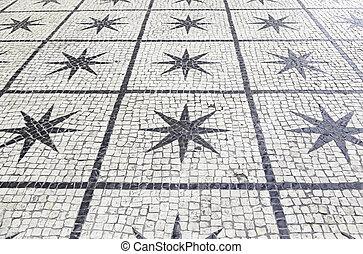 pietra, lisbona, tipico, pavimento