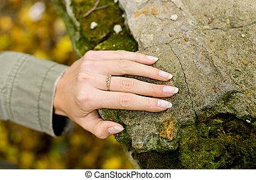 pietra, mano, anello