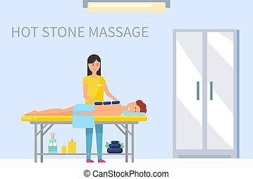 pietra, massaggiatrice, indietro, caldo, vettore, maschio, massaggio