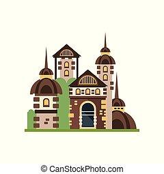 pietra, medievale, fairytale, illustrazione, vettore, fondo, castello, bianco