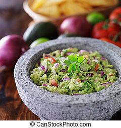 pietra, messicano, guacamole, molcajete