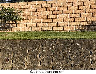 pietra, mi, porto, due, pareti, trattenendo, terrazze, sud