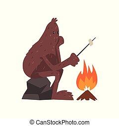pietra, mitico, marshmallow, seduta, carattere, illustrazione, bigfoot, vettore, falò, fondo, bianco, creatura, cartone animato, torrefazione