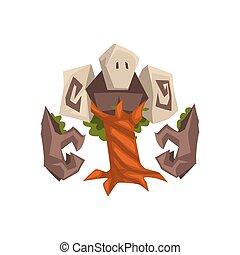 pietra, mostro, golem, mistico, albero, illustrazione, fantasia, vettore, creatura, cartone animato, carattere