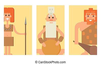 pietra, neanderthal, illustration., persone, caveman, carattere, evoluzione, età, vettore, cartelle, primitivo, cartone animato