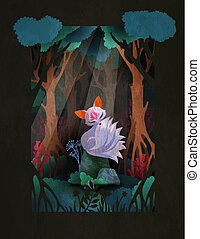 pietra, nine-taled, seduta, carattere, fairytale, volpe, illustrazione, foresta, asiatico, fronte, kumiho, o