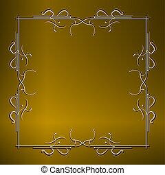 pietra, parete oro, vendemmia, appendere, cartello, contro, ornare, catene