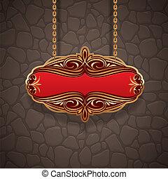 pietra, parete oro, vendemmia, appendere, cartello, contro, vettore, ornare, catene