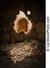 pietra, porta, arched, legno, sicilia, rotto, vecchio, attraverso, visto, buco, parete