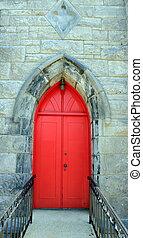 pietra, porta, luminoso, chiesa, vecchio, rosso