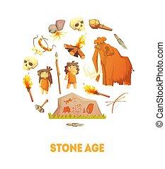 pietra, preistorico, caccia, persone, bandiera, età, caverna, illustrazione, forma, vettore, attrezzi, rotondo, sagoma
