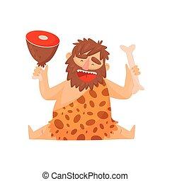 pietra, preistorico, carne, cavemen, osso, età, carattere, primitivo, illustrazione, vettore, fondo, bianco, cartone animato, uomo