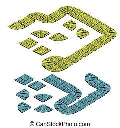 pietra, set, illustration., isolato, fondo., vettore, percorso, bianco, frammenti