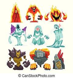 pietra, set, mistico, elementals, fuoco, illustrazione, mostri, acqua, fantasia, vettore, caratteri, cartone animato, creature