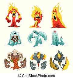 pietra, set, mistico, fuoco, illustrazione, mostri, acqua, fantasia, vettore, caratteri, cartone animato, creature