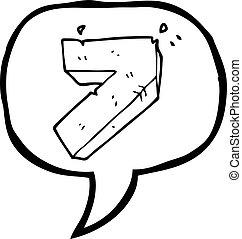 pietra, sette, numero, bolla discorso, cartone animato