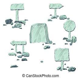 pietra, signboards, puntatori, collezione, vuoto