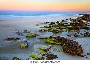 pietra, spiaggia, tramonto, coquina