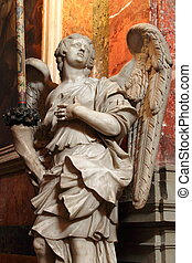 pietra, statua, angelo, marmo