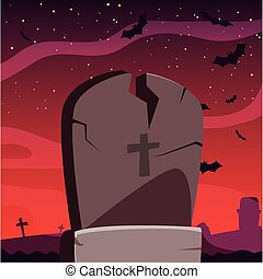 pietra tombale, halloween, felice, disegno, celebrazione