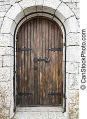 pietra, vecchio, legno, wall., porta, portal.