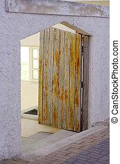 pietra, vecchio, legno, wall., scenery., porta