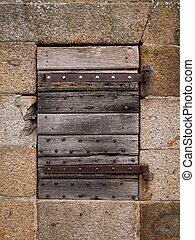 pietra, vecchio, parete legno, porta chiusa
