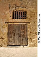 pietra, vecchio, parete, porta legno