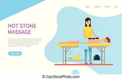 pietra, vettore, massaggiatrice, caldo, cliente, massaggio