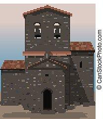 pietra, visigothic, vecchio, illustrazione, vettore, chiesa, castello, style.