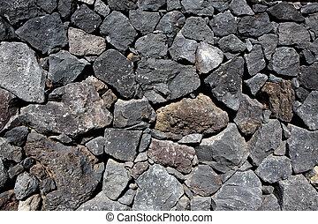 pietra, vulcanico, parete, lava, nero, muratura