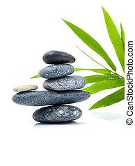 pietre, accatastato, come, goccia di pioggia, foglie, zen, scena, trattamento, terme, concepts., bambù