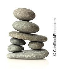 pietre, bianco, accatastato, isolato