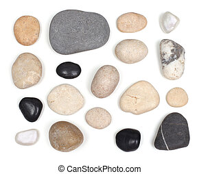 pietre, bianco, set, isolato