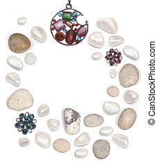 pietre, cornice, bianco, isolato