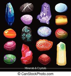 pietre, cristalli, set, fondo, pietre